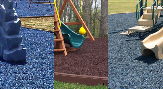 Photo collage of mulch used near playsets